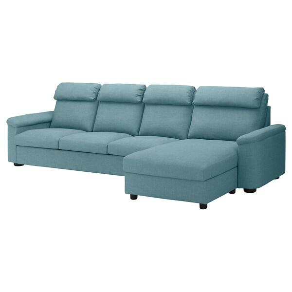 LIDHULT Sofá 4 plazas, +chaiselongue/Gassebol azul/gris