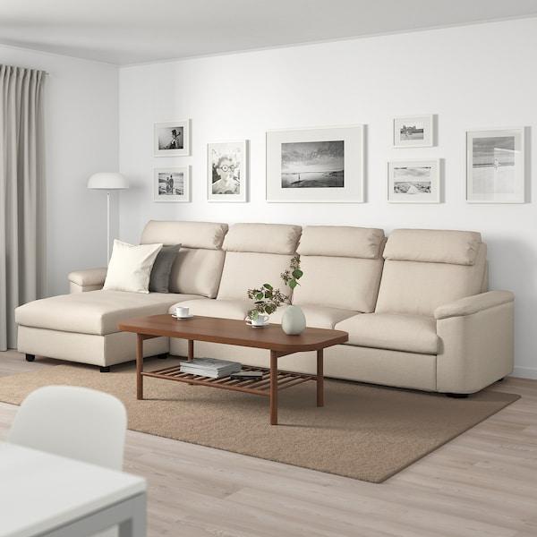 LIDHULT Sofá 4 plazas, +chaiselongue/Gassebol beige claro