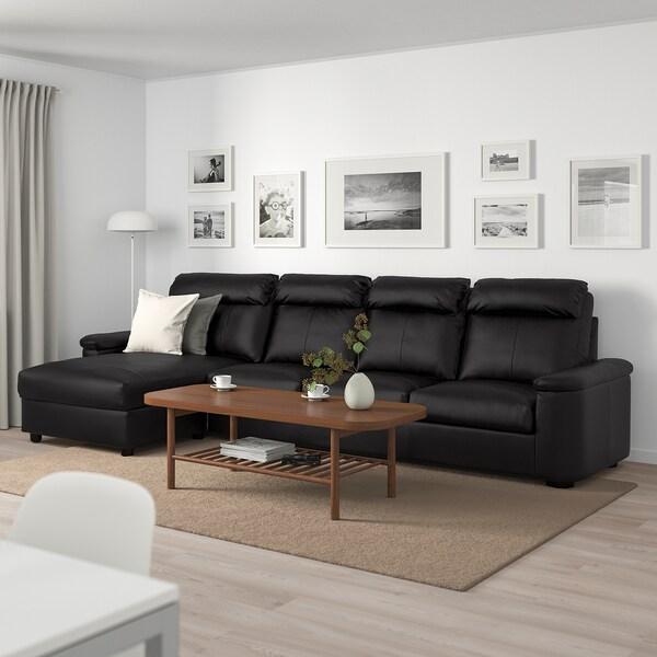 LIDHULT Sofá 4 plazas, +chaiselongue/Grann/Bomstad negro