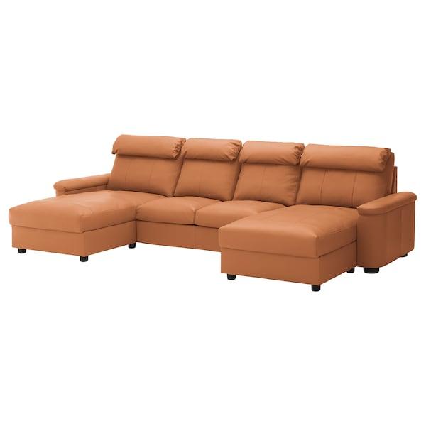 LIDHULT Sofá 4 plazas, con chaiselongues/Grann/Bomstad marrón dorado