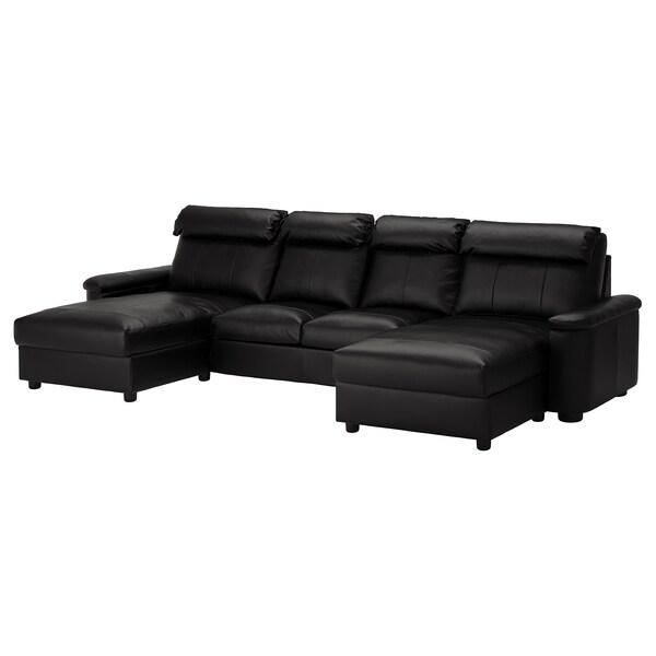 LIDHULT Sofá 4 plazas, con chaiselongues/Grann/Bomstad negro