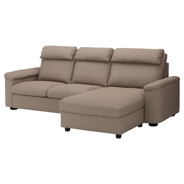 LIDHULT Sofá cama 3 plazas, +chaiselongue/Lejde beige/marrón