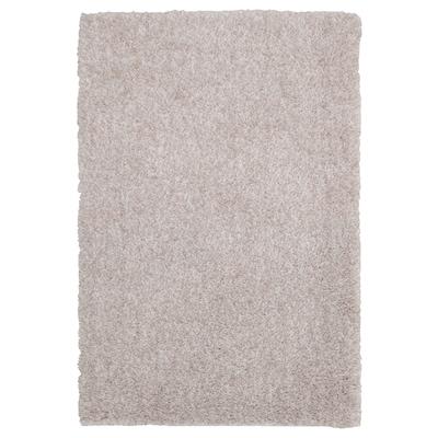 LINDKNUD Alfombra, pelo largo, beige, 60x90 cm