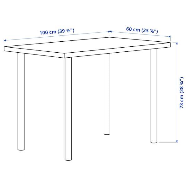 LINNMON / ADILS Escritorio, efecto roble tinte blanco/negro, 100x60 cm