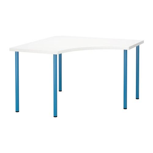 Linnmon adils mesa de esquina blanco azul ikea - Mesa linnmon adils ...