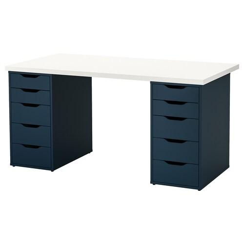 LINNMON / ALEX mesa blanco/azul 150 cm 75 cm 73 cm 50 kg