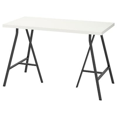LINNMON / LERBERG Mesa, blanco/gris, 120x60 cm