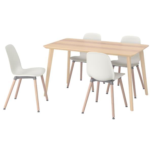 LISABO / LEIFARNE Mesa con 4 sillas, chapa fresno/blanco, 140x78 cm