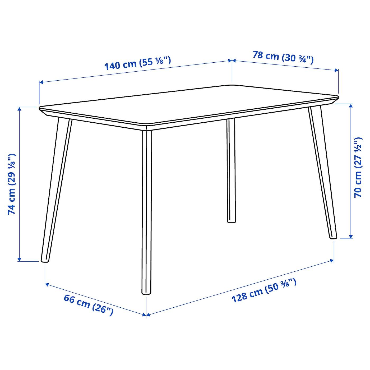 LISABO Mesa - chapa fresno 140x78 cm
