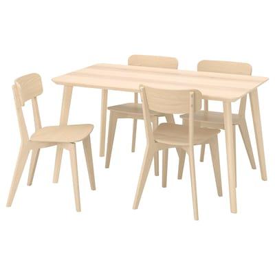LISABO Mesa con 4 sillas, chapa fresno/fresno, 140x78 cm