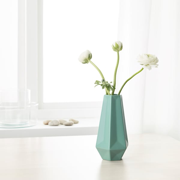 LIVSLÅNG Florero / jarrón, verde, 20 cm