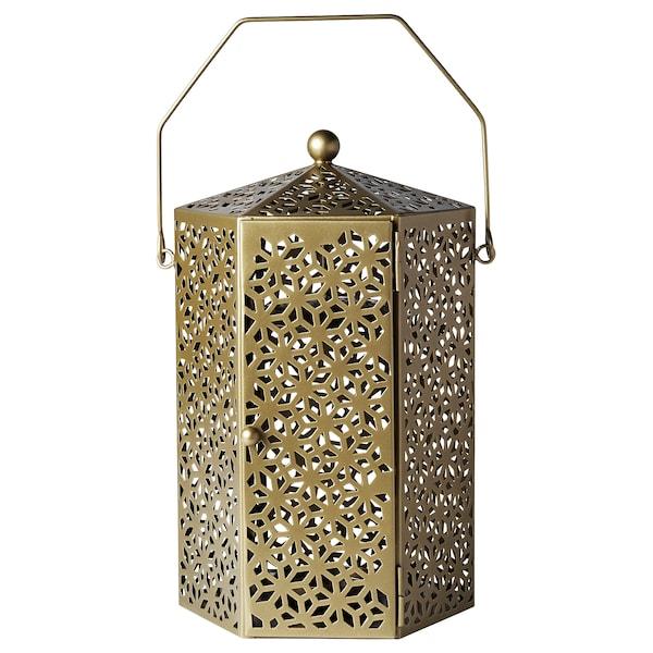 LJUVARE Farol vela gr, dorado, 32 cm