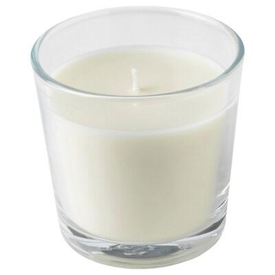 LJUVARE Vela aromática en vaso, oud/beige claro, 7.5 cm