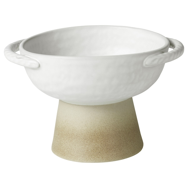 LOKALT Fuente, beige blanco/a mano, 15 cm