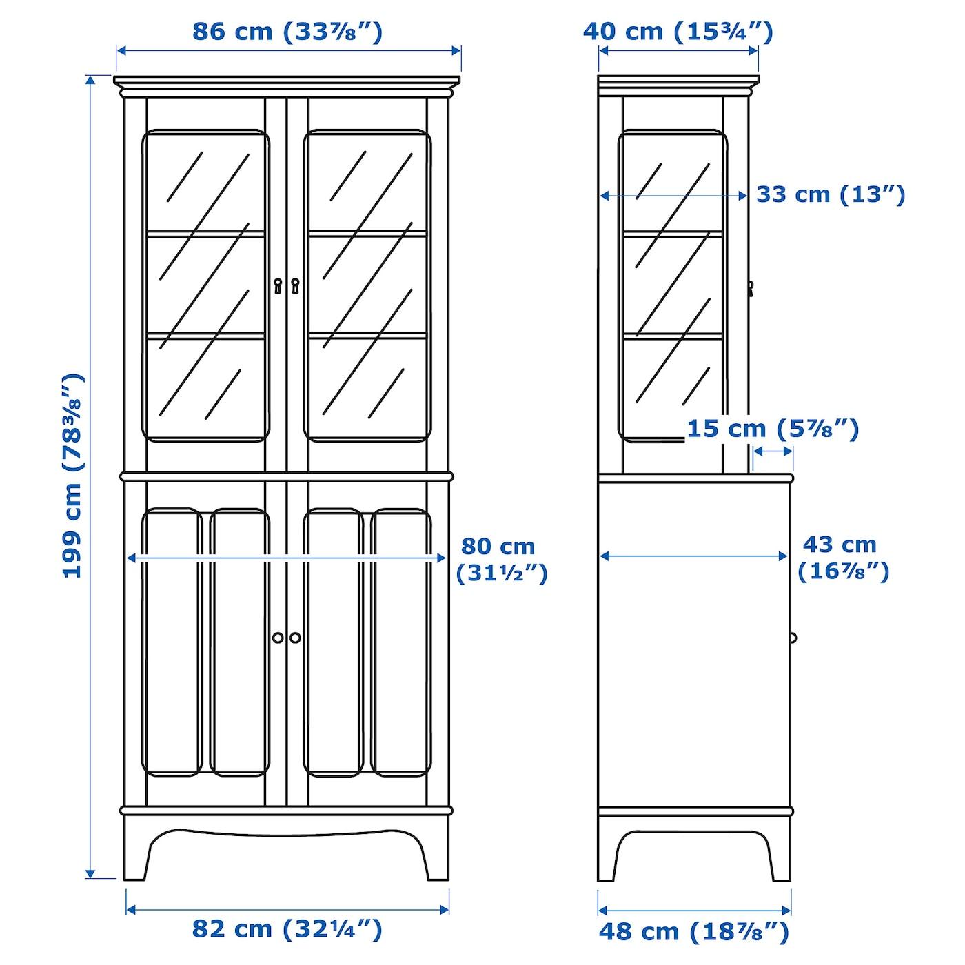 LOMMARP Armario con puertas vidrio beige claro 86x199 cm