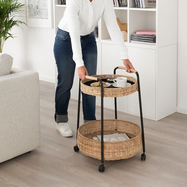 LUBBAN Mesa con ruedas y almacenaje, ratán, antracita IKEA