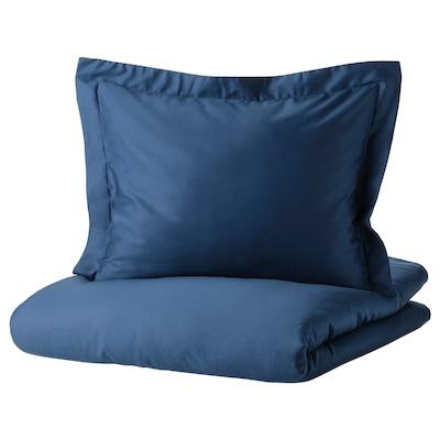 LUKTJASMIN Funda nórdica +2 fundas almohada, azul oscuro, 240x220/50x60 cm