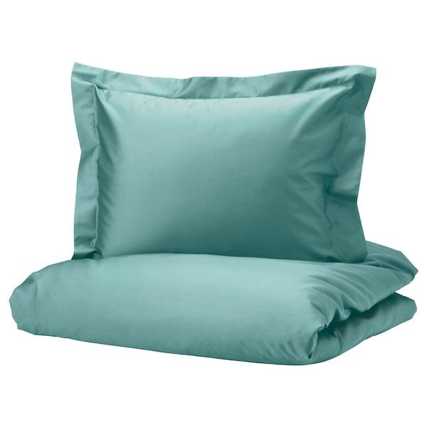 LUKTJASMIN Funda nórdica y funda de almohada, gris turquesa, 150x200/50x60 cm
