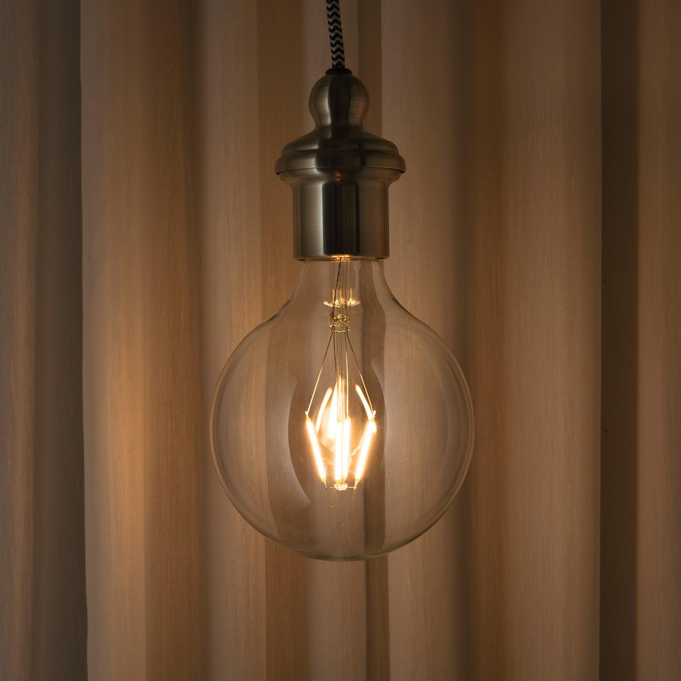 LUNNOM Bombilla LED E27 600 lúmenes globo vidrio incoloro 125 mm