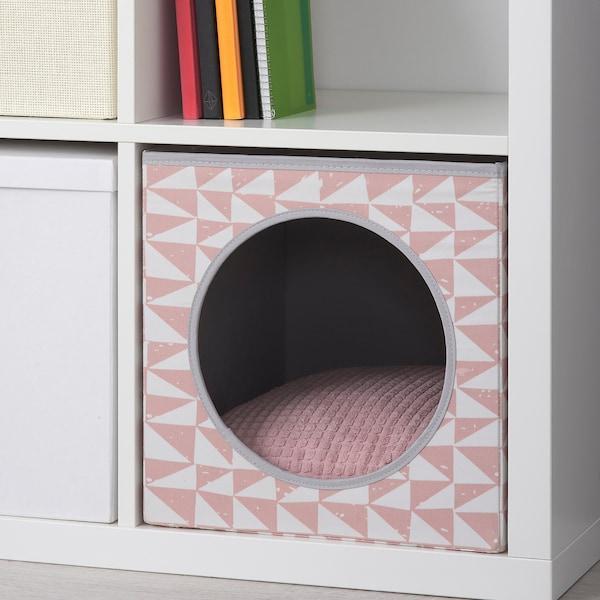 LURVIG Caseta gato+cojín, rosa/rosa, 33x38x33 cm