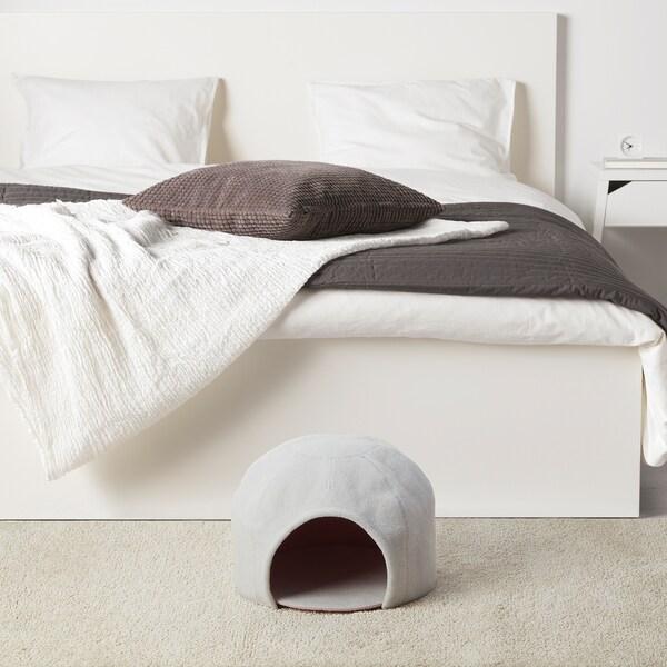 LURVIG Caseta gato iglú, gris claro/rosa