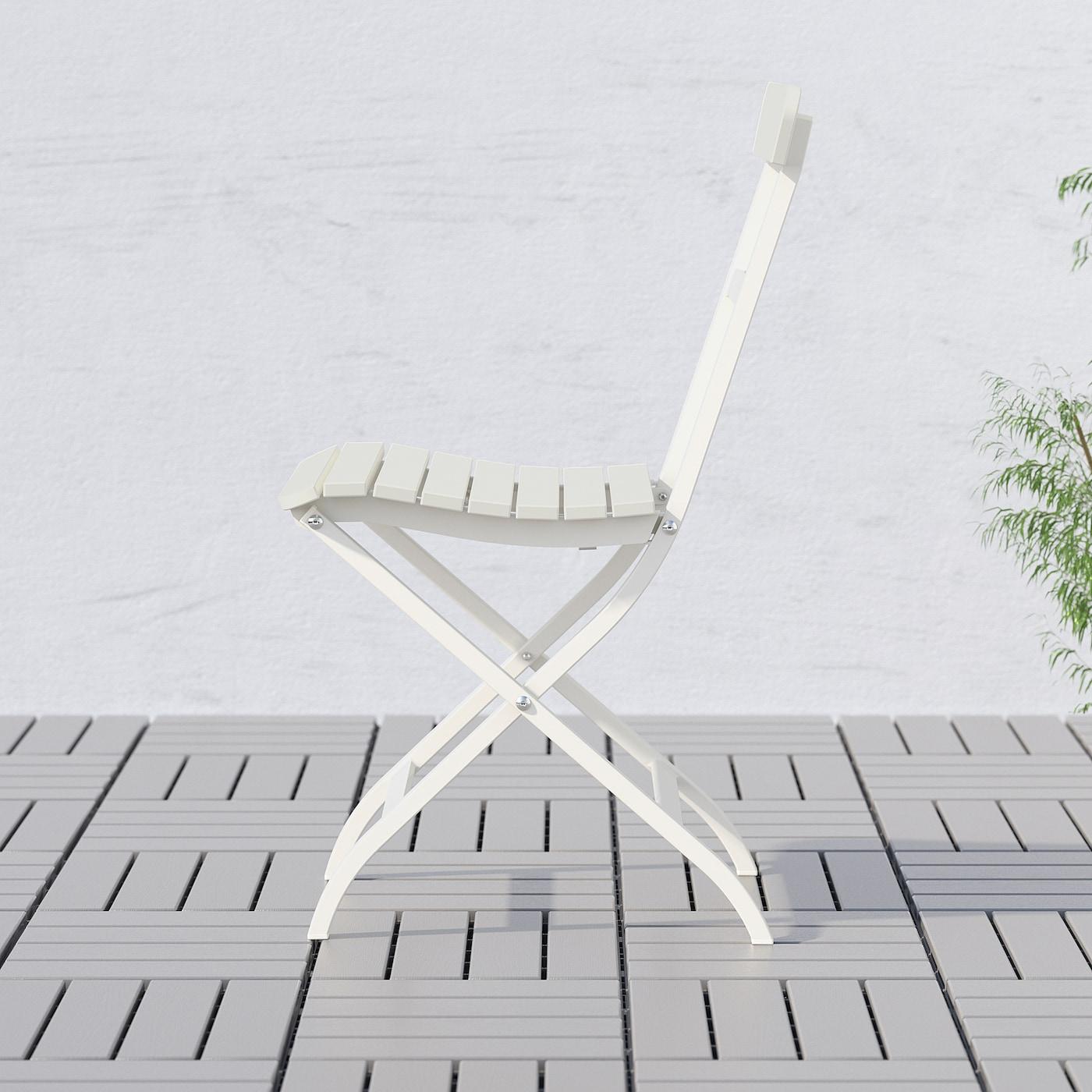 MÄLARÖ Silla jardín blanco plegable blanco