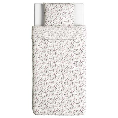 MAJVIVA Funda nórdica y funda de almohada, blanco/lila, 150x200/50x60 cm
