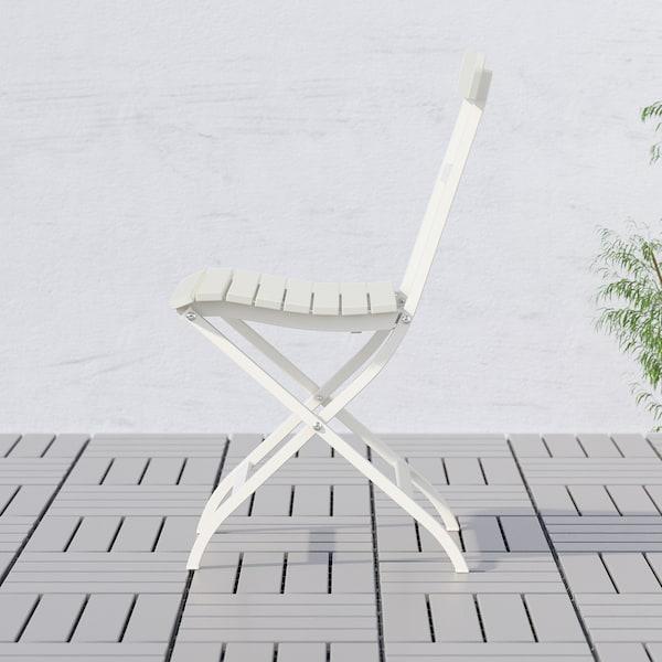 MÄLARÖ Silla jardín, plegable blanco