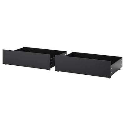 MALM Cajones para cama, negro-marrón, 200 cm