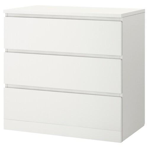 MALM cómoda de 3 cajones blanco 80 cm 48 cm 78 cm 72 cm 43 cm