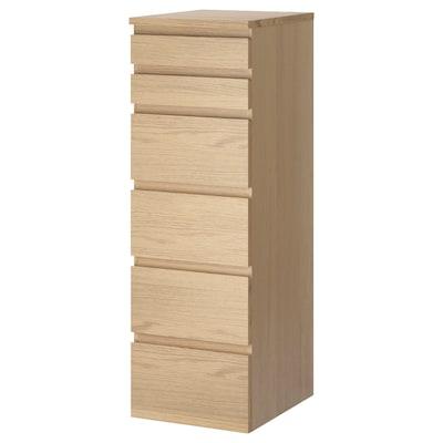 MALM Cómoda de 6 cajones, chapa roble tinte blanco/espejo, 40x123 cm