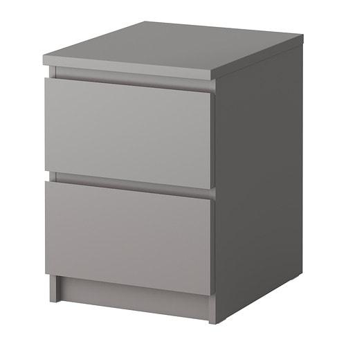 Malm c moda de 2 cajones gris ikea - Ikea mesilla malm ...