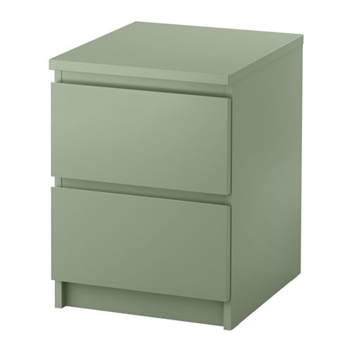 MALM  - Chest of 2 drawers, 40x55 light green