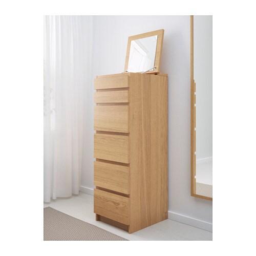 Malm c moda de 6 cajones chapa roble espejo ikea - Ikea malm comoda ...