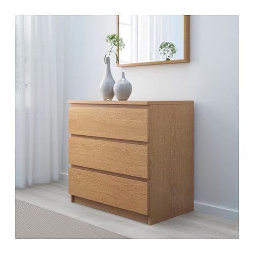 Malm c moda de 3 cajones chapa roble ikea - Ikea malm comoda ...