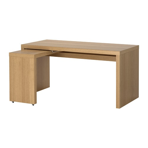 MALM  - Desk with pull-out panel 151x65cm, oak veneer