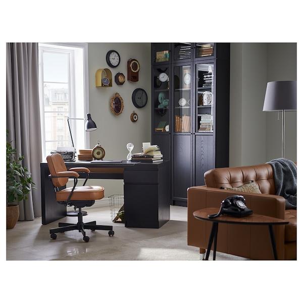 MALM Escritorio, negro-marrón, 140x65 cm