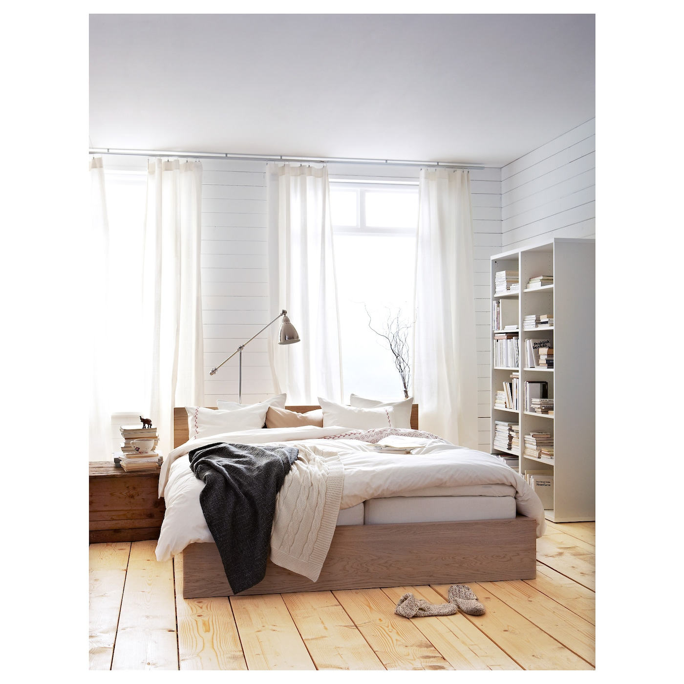 Malm estructura de cama alta chapa roble tinte blanco l nset 140 x 200 cm ikea - Estructura cama 180x200 ...