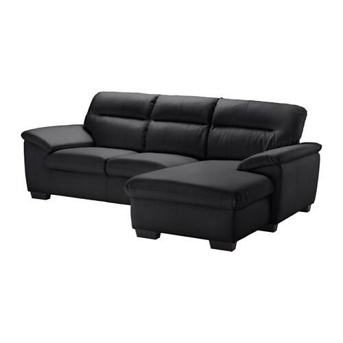 Malviken sof 2 plazas con chaiselongue kimstad negro ikea for Sofas ikea precios