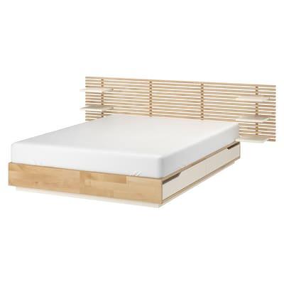 MANDAL Estructura de cama con cabecero, abedul/blanco, 160x202 cm