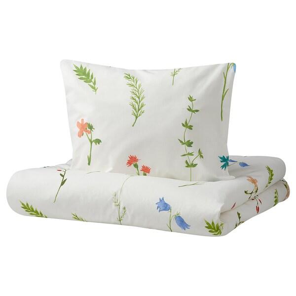 MARMORBUSKE Funda nórdica y funda de almohada, motivo de flores, 150x200/50x60 cm