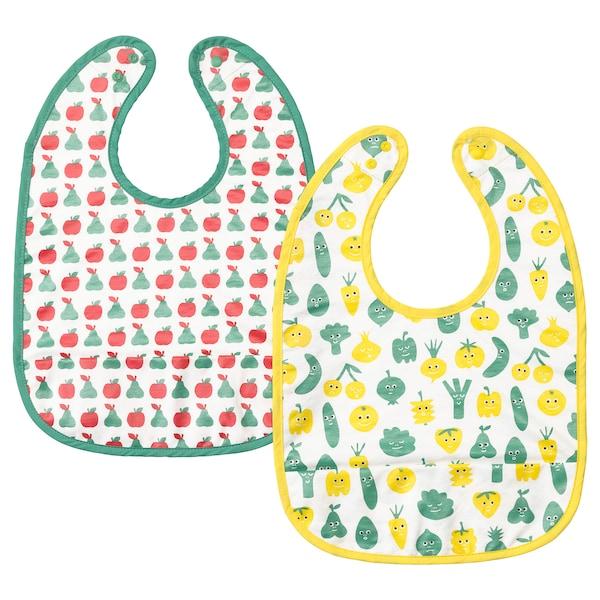 MATVRÅ Babero, motivo fruta/verdura/verde amarillo