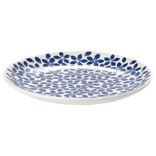 MEDLEM plato blanco/azul/con motivos 22 cm