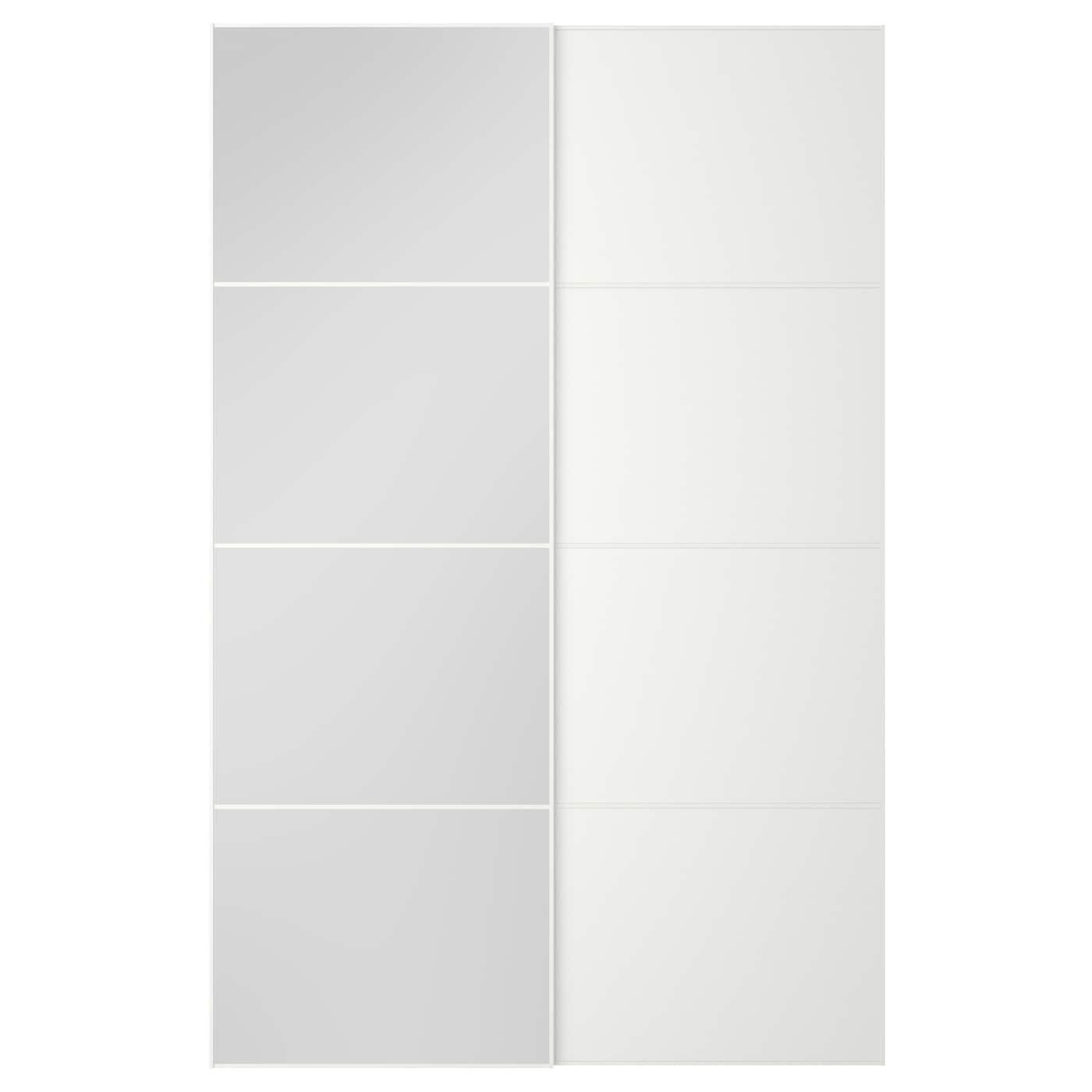 Mehamn auli puertas correderas 2 uds espejo blanco 150 x 236 cm ikea - Espejo blanco ikea ...