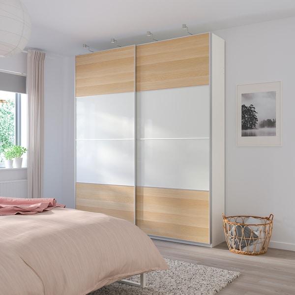 MEHAMN puertas correderas, 2 uds efecto roble tinte blanco/blanco 150 cm 236 cm