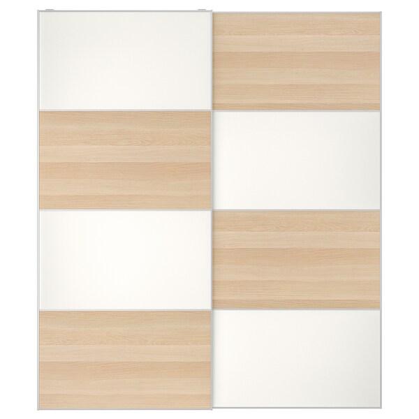 MEHAMN Puertas correderas, 2 uds, efecto roble tinte blanco/blanco, 200x236 cm