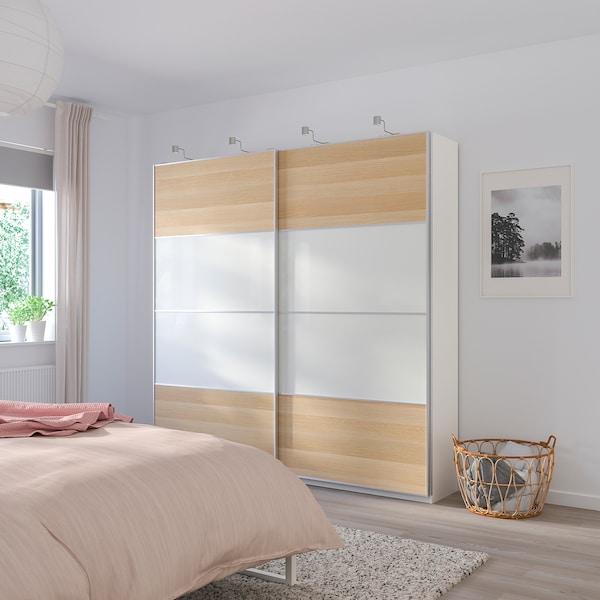 MEHAMN Puertas correderas, 2 uds, efecto roble tinte blanco/blanco, 150x201 cm