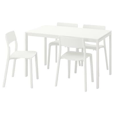 MELLTORP / JANINGE Mesa con 4 sillas, blanco/blanco, 125 cm