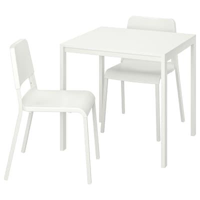 MELLTORP / TEODORES Mesa y dos sillas, blanco/blanco, 75x75 cm
