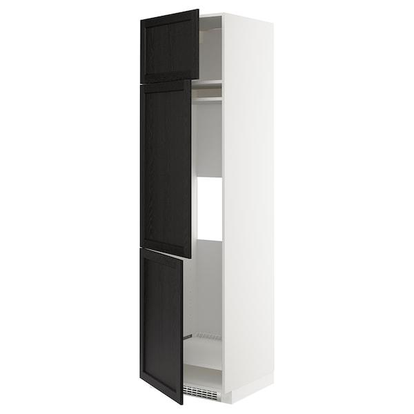 METOD Aafrigo/cong+3pt, blanco/Lerhyttan tinte negro, 60x60x220 cm